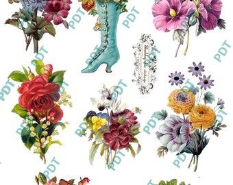 Vintage flower stickers 4