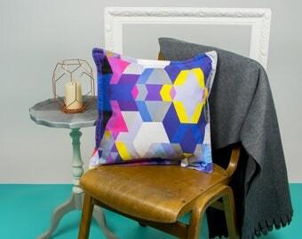 Bold Multicoloured Oxford Edge Geometric Cushion