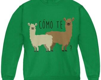 Como Te Llamas Funny Llama Pun Youth Sweatshirt
