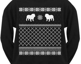 Bulldog Adult Ugly Christmas Sweater Crew Neck Sweatshirt