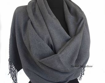 Asphalt Gray Pashmina Scarf Gray Shawl Gray Cashmere Wrap Asphalt Gray Cashmere Scarf Bridesmaids Gift Gray Wedding Shawl Bridesmaid Gray