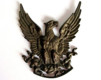 "Antique Cast Bronze Eagle Wall Plaque / Wall Mount / Man Cave / Statement Piece / Eagle Statue / Spread Wings / 10 ""/ Wall Art/ Solid Bronze"