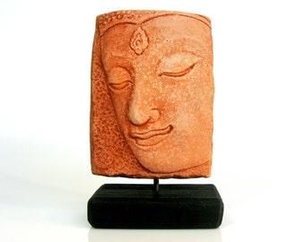 Carved Stone Buddha Face / Hand Carved / Red Sandstone / Buddha Statue / Bodhisattva / Buddha Art / Man Cave / Yoga Studio Decor / Zen Art