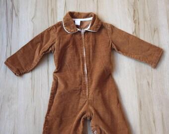 Vintage Brown Corduroy Jumpsuit Size 1