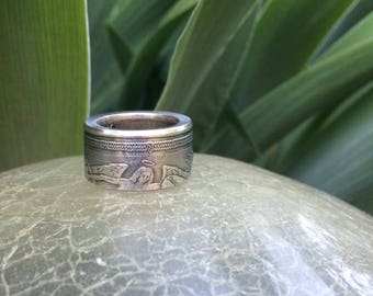 Isle of Man Silver Angel coin ring