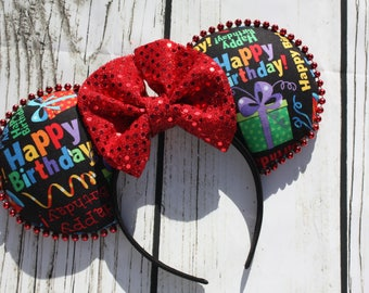 Disney Ears Happy Birthday Red