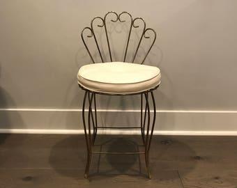 Vintage Vanity Seat, Mid Century Vanity Chair, Hollywood Regency Makeup  Chair, Vanity Stool