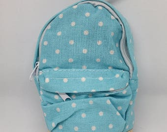 Mini Backpack Back to School Accessories Sticky Note Holder Eraser Bag Planner Accessories Blue Polka Dot