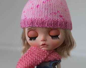 Hand knitted Blythe hat and scarf