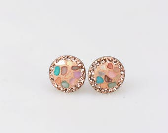 925 Sterling Silver Stud Earrings, Mother of Pearl, Swarovsky Crystals, Light Peach Color, Unique Style Stud Earrings