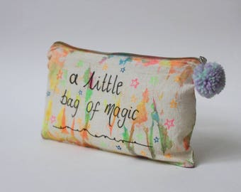 A little bag of magic |Travel gift|Tie Dye Toiletry Zip Bag|Quote|Inspirational|Hippie Gift|Travel Gift|Birthday Gift|Christmas Gift