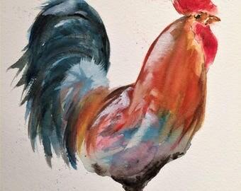 "Cockerel 12"" x 10"" Original watercolour painting"