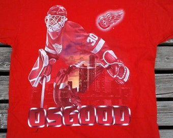 Vintage 1996 Chris Osgood Detroit Red Wings t-shirt Made in USA large