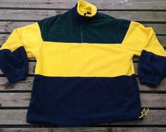 Vintage 90's Christopher Rand Fleece Pullover Sweater Colour Block Green Yellow Blue XL