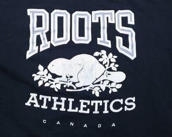 Vintage 80's / 90's Roots Athletics Black Crewneck Sweatshirt Made in Canada