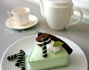 Mint Chocolate Pie-Felt Food Pretend Play