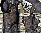 The Chaotic SceneSick Custom Tactical Post Apocalyptic Raider Wasteland Biker Heavy Metal Hand Painted Stage Wear Biker Logo Vest