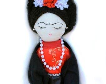 Frida doll, Frida Kahlo doll, handmade Frida doll, rag doll,Mexican folk art