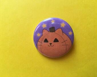 Pumpkin Cat button! //// Halloween, Halloween button, Pumpkin button, cat button, Jack o lantern, Cute, Kawaii, cute button