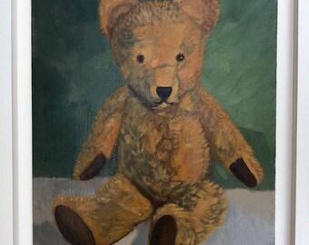 "Framed Oil Painting of Teddy Bear ""Teddy Bear"" by Barbara Kelly"