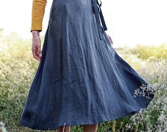 Long Linen Wrap Skirt,  Maxi Linen Skirt, Maxi Wrap Skirt, Linen Wrap Skirt, Linen Maxi Skirt, Charcoal Linen Skirt, Long Linen Skirt