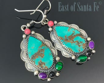 Turquoise Multi-Stone Native American Earrings Signed - Silver Cloud