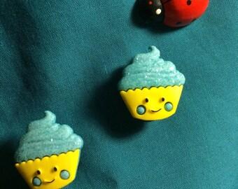 Cute Kawaii CUPCAKE Blue Glittery Frosting Clog Shoe Charms
