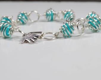 Birthday gift, blue glass bead bracelet , gift jewellery, bracelet with handmade hook and loop clasp