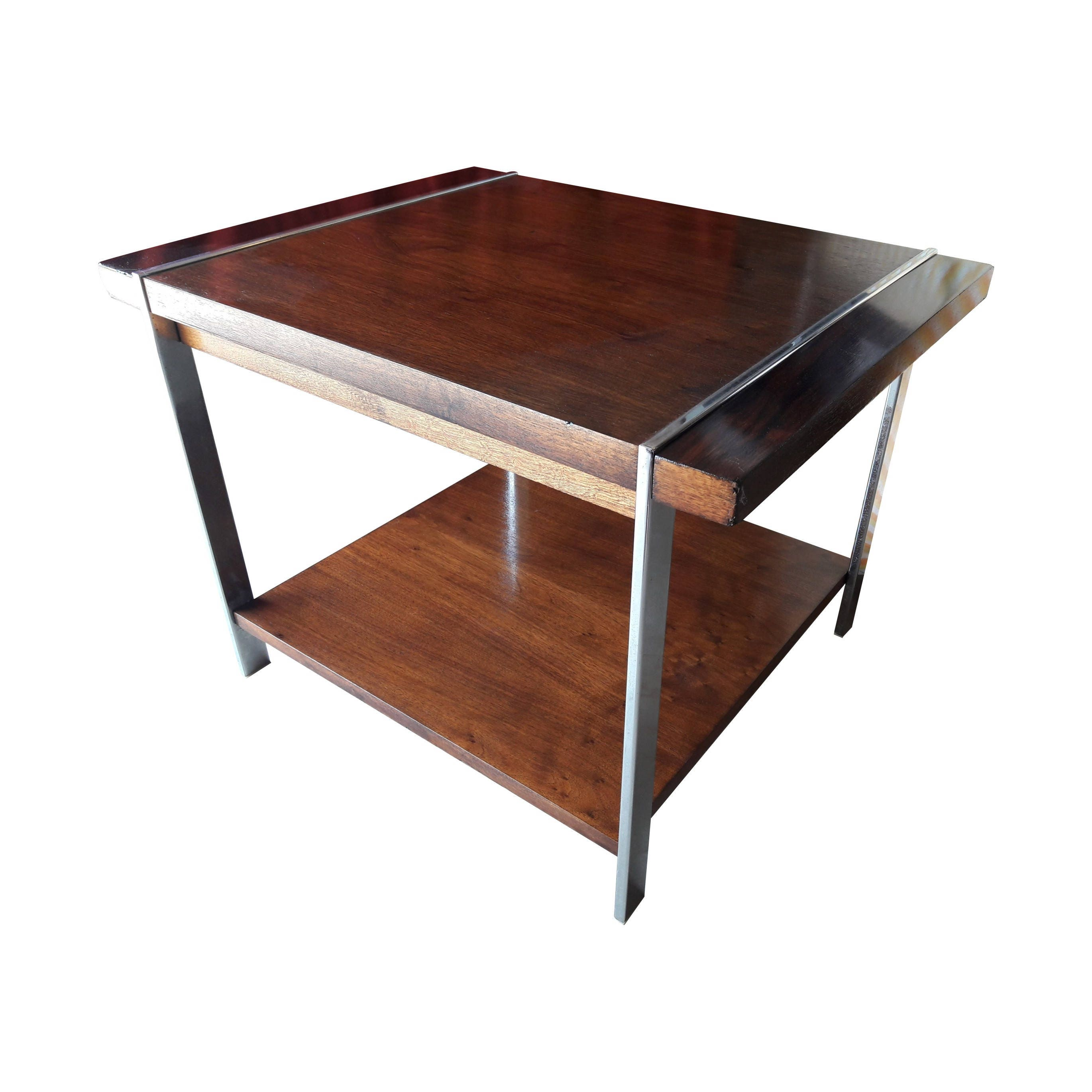 vintage lane side table wood table with chrome legs