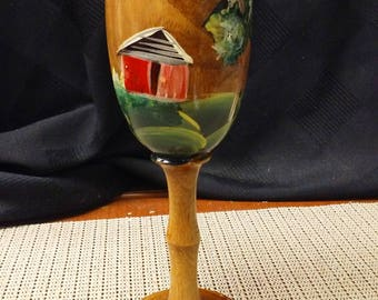 Wooden chalet hand painted in mid to late 1900s