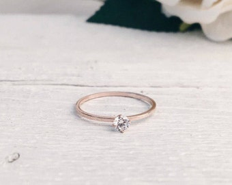 Rose Gold Ring Diamond Design | Minimalist Ring with Crystal Titanium with Rose Gold Plated