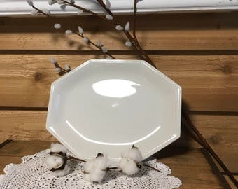 Vintage Johnson brothers platter ironstone tray serving farmhouse white decor wedding plate country dish cottage wall decor