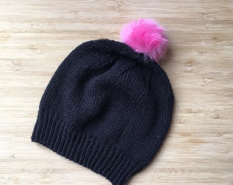 Springtime Toddler Beanie, Little Girl Bamboo Cotton Knit Hat with Pink Faux Fur Pompom, Kids Hat, Stretchy Beanie, Vegan Fashion,