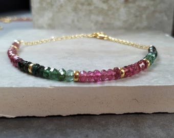 Watermelon Tourmaline bracelet woman, dainty gemstone bracelet, tourmaline bead bracelet, tourmaline gold bracelet delicate, gift idea wife