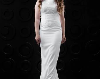 Sheath Wedding Dress with Train | Straps | Sleeveless | Long