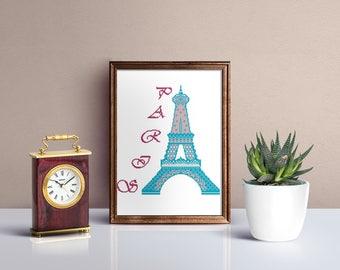 Eiffel tower cross stitch pattern, Paris city cross stitch pattern, romantic lace PDF pattern embroidery