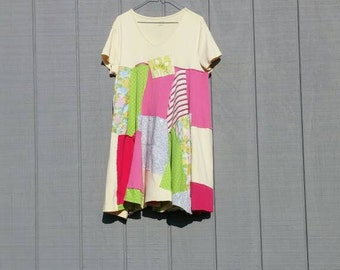 Pastel upcycle dress, tunic,summer dress,patchwork,boho, bohemian,yellow,pink,green,blue,t-shirt dress,plus size,1X-2X,upcycled tunic,dress