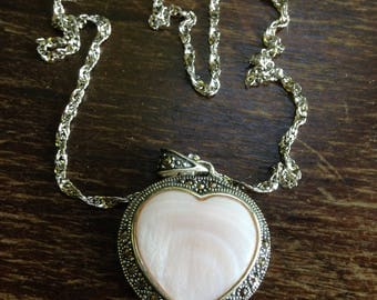 Heart Shaped Mother of Pearl and Marcasite Necklace