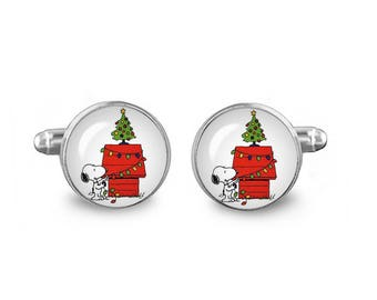 Snoopy Cuff Links Christmas Cuff Links 16mm Cufflinks Gift for Men Groomsmen Novelty Cuff links Fandom Jewelry
