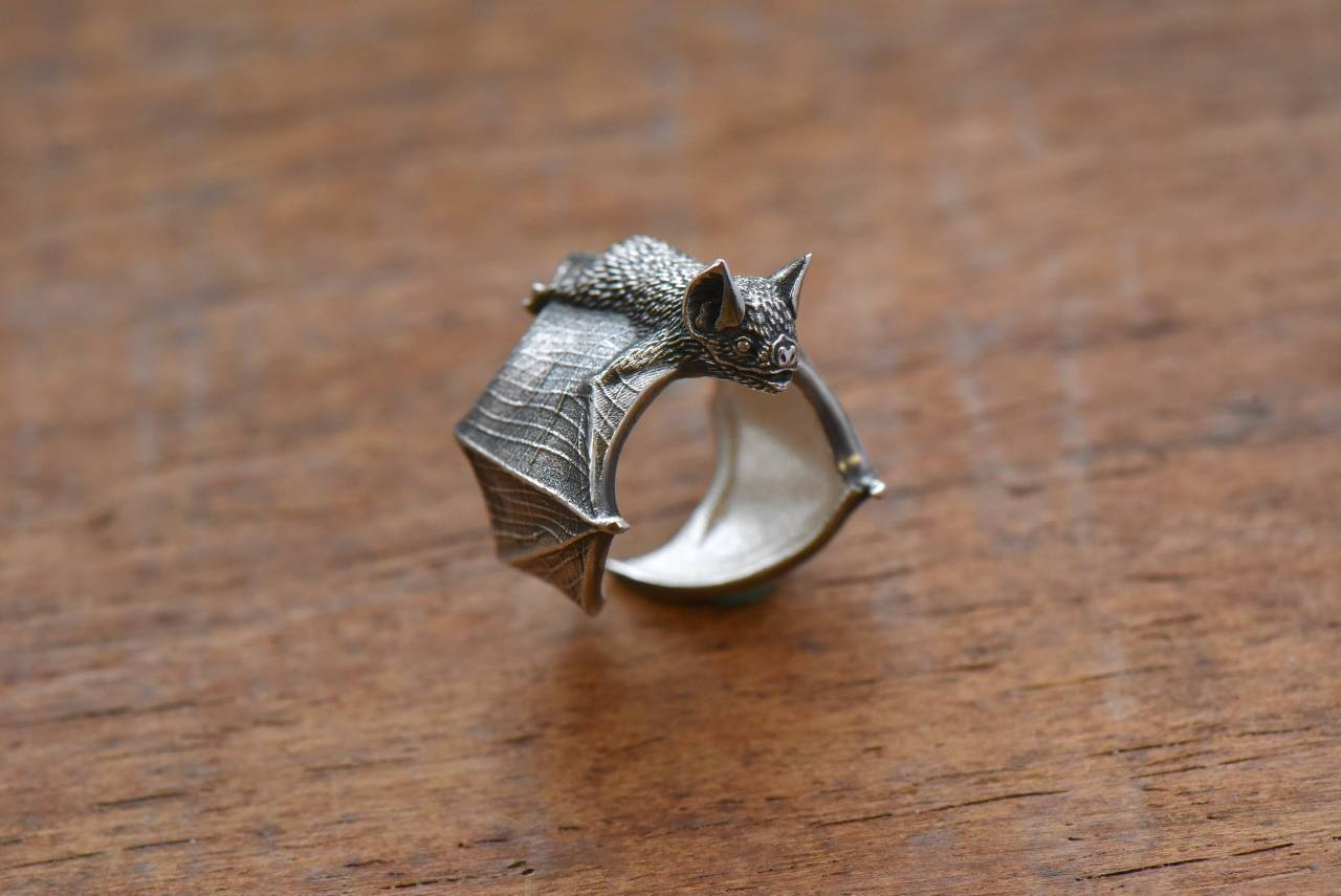 bat ring silver classic bat ring bat flight bat jewelry silver