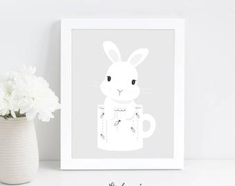 Rabbit Nursery, Wall Art Print, Woodland Nursery Decor, Kids Printable Wall Art, Black and White Nursery Print, Digital Download Nursery Art