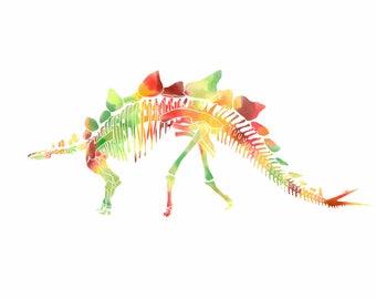 Stegosaurus Dinosaur Fossil Watercolor Print/Poster