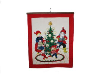 Cute vintage retro Christmas Wall hanging Tapestry with gnomes santas around Christmas tree. Made in Sweden Scandinavian