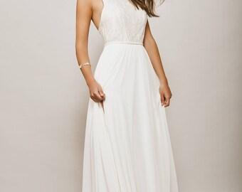 Wedding Dress Halter Shiny Lace Backless Open Back