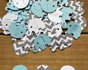 Blue and Gray Elephant Confetti, Chevron Elephant, It's a Boy, elephant decoration, elephant baby shower, baby shower confetti, die cut
