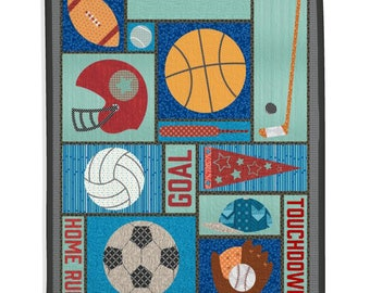 Boy Quilt, Kid's Room, Kid's Quilt, Football, Baseball, Basketball, Hockey Custom Quilt, Personalized Quilt - Sports Quilt