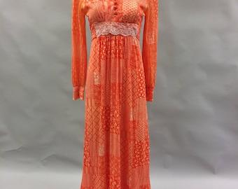 60s 70s Bright Orange Prairie Dress with Long Sleeves Size Medium 6-8 | Hippy | Boho | Gunne Sax Style