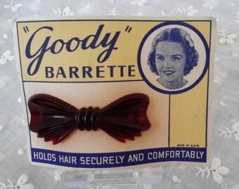 Vintage Faux Tortoiseshell Bow Barrette Hair Slide Unused on Card. c1940s USA