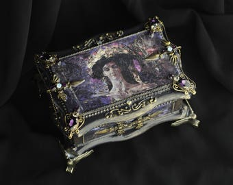 Jewelry box, wooden box with Seraph, black wood box, gold box,  decoupage box, baroque, rococo, Gothic box,  luxury box