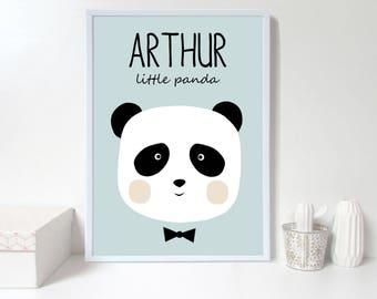 Custom baby nursery wall art,panda nursery print,Personalised wall print, custom name,blue Nursery art prints ,baby nursery decor,Kids Room